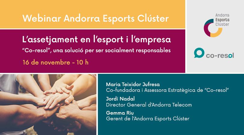 """Webinar Andorra Esports Clúster - L'assetjament en l'esport i l'empresa. """"Co-resol"""", una solució per ser socialment responsables"""